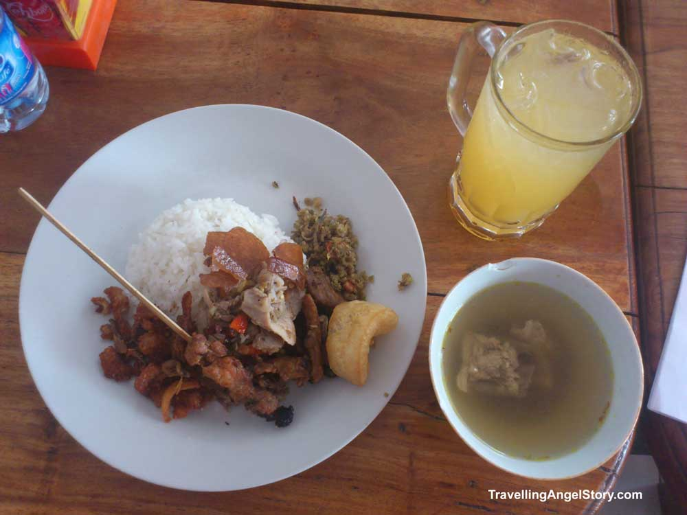 Babi Guling Pak Malen, Bali (suckling pig set meat & orange juice)